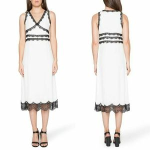Willow & Clay Black Lace Trim Midi White Dress S